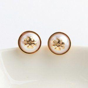 🔥Tory Burch Pearl logo earrings